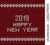 happy new year 2019 as knitwear ... | Shutterstock .eps vector #1186279693