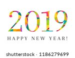 2019 and happy new year as... | Shutterstock .eps vector #1186279699