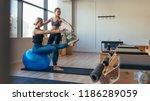 fitness woman doing pilates... | Shutterstock . vector #1186289059