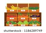 shelves with fresh vegetable... | Shutterstock .eps vector #1186289749