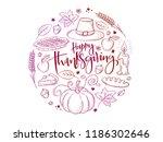 vector greeting thanksgiving... | Shutterstock .eps vector #1186302646