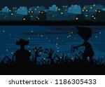 graveyard at riverside at... | Shutterstock .eps vector #1186305433