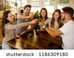 group of friends hanging out... | Shutterstock . vector #1186309180