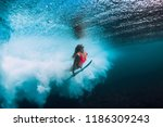 surfer woman with surfboard... | Shutterstock . vector #1186309243