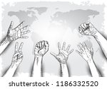 raised hands with fist on... | Shutterstock .eps vector #1186332520