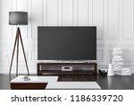 large modern smart tv mockup on ... | Shutterstock . vector #1186339720