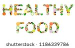 lettering 'healthy food' from... | Shutterstock .eps vector #1186339786