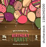 birthday party invitation card... | Shutterstock .eps vector #1186340200