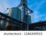 modern silos for storing grain... | Shutterstock . vector #1186340923