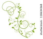 simple floral design, green silhouette for decorative background over white - stock vector