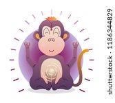 vector funny cute monkey... | Shutterstock .eps vector #1186344829