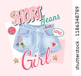 girly slogan with short jeans... | Shutterstock .eps vector #1186348789