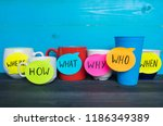 mugs with different questions... | Shutterstock . vector #1186349389