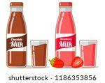 strawberry chocolate milk .... | Shutterstock .eps vector #1186353856