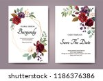 set of card with flower rose ... | Shutterstock .eps vector #1186376386