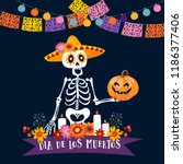 Stock vector halloween dia de los muertos greeting card mexican day of the dead invitation skeleton with 1186377406