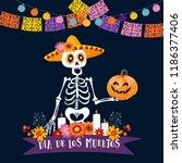 halloween  dia de los muertos... | Shutterstock .eps vector #1186377406