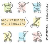 baby carriages and strollers...   Shutterstock .eps vector #1186380169