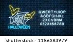 glowing neon sign of halloween...   Shutterstock .eps vector #1186383979