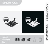car and pin on the map flat... | Shutterstock .eps vector #1186389979
