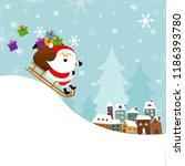 santa sledding to town | Shutterstock .eps vector #1186393780