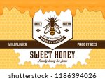 honey label and packaging... | Shutterstock .eps vector #1186394026