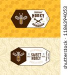 honey labels  logo and... | Shutterstock .eps vector #1186394053