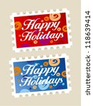Happy holidays postage stamps stickers. - stock vector