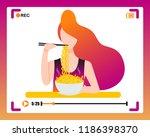 korean girl making mukbang... | Shutterstock .eps vector #1186398370