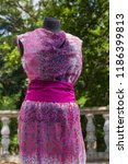 pink dress on mannequin. pink... | Shutterstock . vector #1186399813
