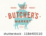 poster for butcher market. cow  ... | Shutterstock .eps vector #1186403110