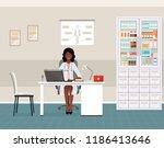 afro american woman doctor in... | Shutterstock .eps vector #1186413646
