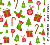 christmas pattern with holly... | Shutterstock .eps vector #1186414093