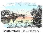 sketch of river scenery in...   Shutterstock .eps vector #1186416979