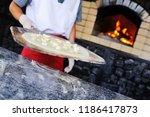 baking italian focaccia with... | Shutterstock . vector #1186417873