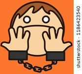 emoticon with handcuffed man... | Shutterstock .eps vector #1186423540
