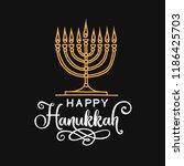 happy hanukkah lettering...   Shutterstock .eps vector #1186425703