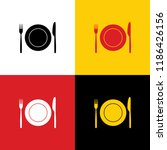 fork  knife and plate sign.... | Shutterstock .eps vector #1186426156