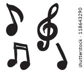 set of hand drawn music notes | Shutterstock .eps vector #118643290