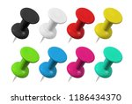 Realistic Colorful Push Pins...