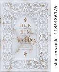indian wedding invitation card... | Shutterstock .eps vector #1186436176