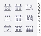 outline 9 week icon set.... | Shutterstock .eps vector #1186436560