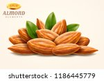 pile of 3d almond nuts or heap... | Shutterstock .eps vector #1186445779