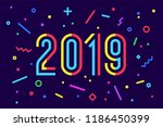 2019  happy new year. greeting... | Shutterstock .eps vector #1186450399