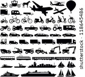 Stock vector transportation icons collection vector silhouette 118645486
