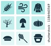 autumn icons set with wind ... | Shutterstock .eps vector #1186460569