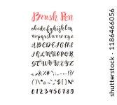 brush pen handwritten alphabet  ... | Shutterstock .eps vector #1186466056