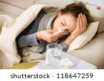 sick woman.flu.woman caught... | Shutterstock . vector #118647259