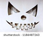 halloween pumpkin face full... | Shutterstock . vector #1186487263