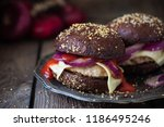 homemade beef burgers with chop ... | Shutterstock . vector #1186495246